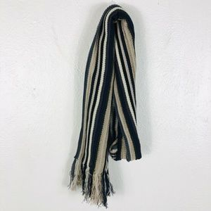 Coldwater Creek Mixed Striped Fringe Scarf Blue Wh
